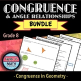 Congruence and Angle Relationships Worksheet Bundle