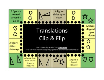 Congruence and Transformations Clip and Flip boards (self checking)