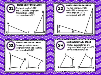 Congruent Angles, Lines, Quadrilaterals, and Polygons Geometry Task Cards