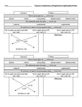Congruent, Complementary, and Supplementary Angle Equations Practice