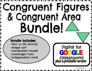 Congruent Figures & Congruent Area: Digital & Printable Versions