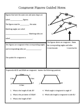 Congruent Figures Guided Notes
