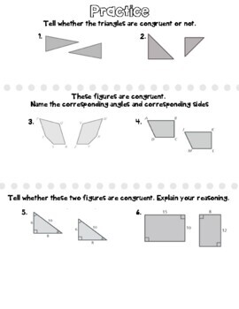 Congruent Figures Sketch Notes and Practice