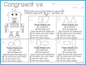 Congruent Shapes Activity : PowerPoint Lesson and Guided Student Printable