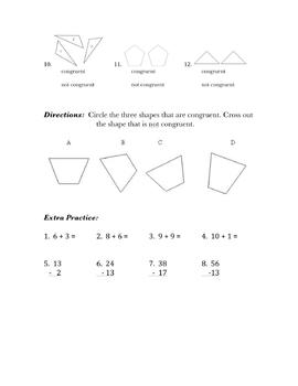 Congruent Shapes Practice/Assessment