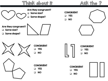 Congruent Shapes Think Chat Write