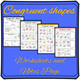 Congruent Shapes Worksheet and Notes Page