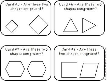 Congruent Shapes and Lines of Symmetry Task Cards
