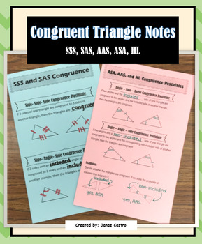 Congruent Triangle Notes - SSS, SAS, ASA, AAS, HL