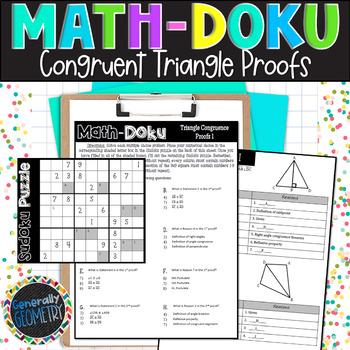 Congruent Triangle Proofs Math-Doku; Geometry, Sudoku