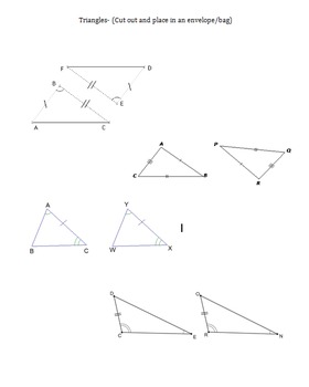 Congruent Triangles Activity- (SSS, ASA, SAS, AAS)