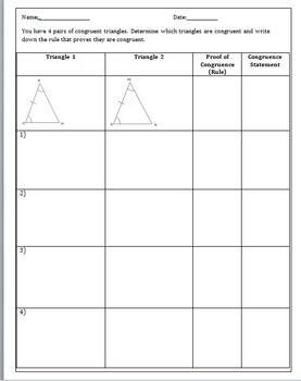 Congruent Triangles Activity- (SSS, ASA, SAS, AAS)