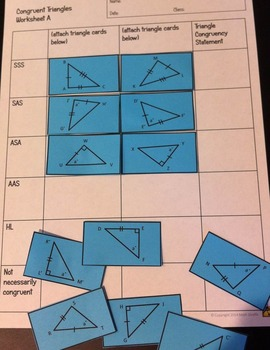 Congruent Triangles Activity: SSS, SAS, ASA, AAS, and HL