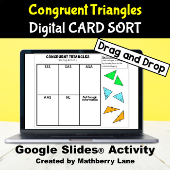 Congruent Triangles Card Sorting Activity Digital Interactive  in Google Slides