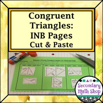Congruent Triangles - Congruency Methods Cut & Paste Act.