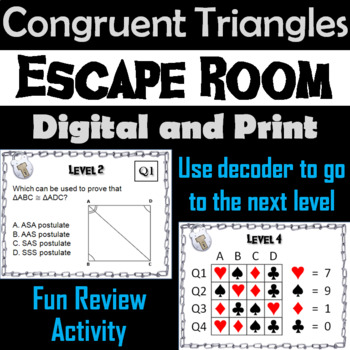 Congruent Triangles: Geometry Escape Room - Math (SSS, SAS, ASA, AAS Activity)
