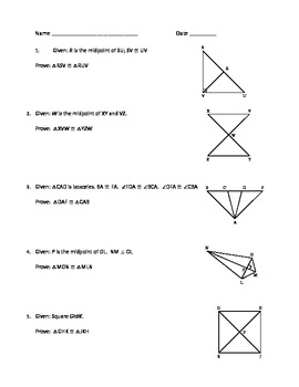 Congruent Triangles Guide Practice Assessment