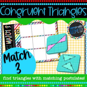 Congruent Triangles Match 3 Activity; Geometry, SSS, SAS, ASA, AAS