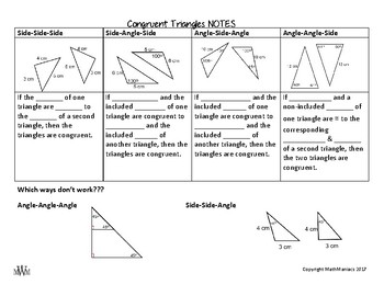 Congruent Triangles Notes