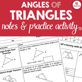 Angles of Triangles Notes & Activity - Triangle Angle Sum
