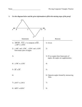 Congruent Triangles Practice Worksheet