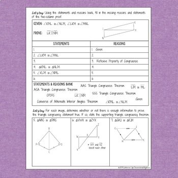 Congruent Triangles Proofs: Notes & Practice