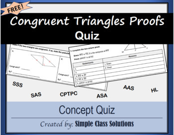 Congruent Triangles Proofs Quiz