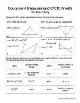 Congruent Triangles Proofs (With CPCTC) Cut and Paste Activity