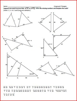 Congruent Triangles Puzzle by Rita Rhinestone | Teachers Pay Teachers
