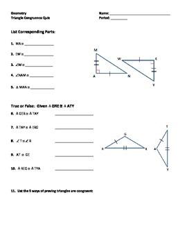 Congruent Triangles Quiz