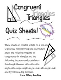 Congruent Triangles Quiz Sheet for High School and Adult Ed. Geometry Students