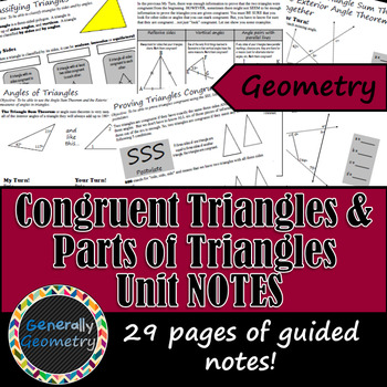 Congruent Triangles & Parts of Triangles Unit Notes