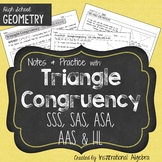 Congruent Triangles - SSS, SAS, ASA, AAS, HL: Notes & Practice