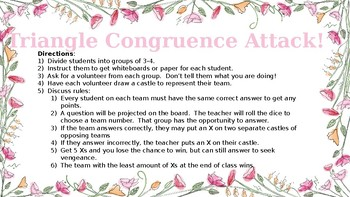 Congruent Triangles, SSS, and SAS Attack! Review Game