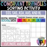 Congruent Triangles Sorting Activity (GOOGLE Slides) Dista