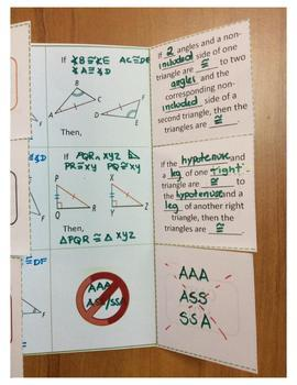 Congruent Triangles Theorems Foldable
