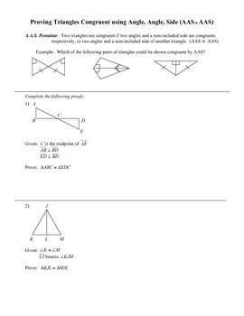 Congruent Triangles Worksheet (AAS)