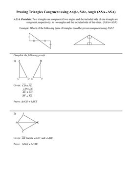Congruent Triangles Worksheet (ASA)