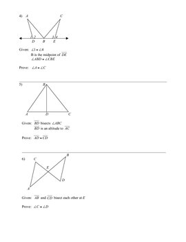 Congruent Triangles Worksheet (CPCTC)