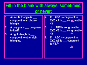 Power-Point:  Congruence and Identifying Corresponding Angles and Sides