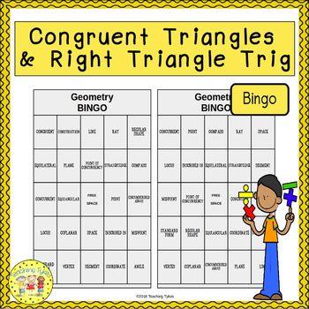 Congruent Triangles and Right Triangle Trigonometry BINGO