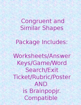 Congruent and Similar Shapes Package-Brainpopjr. Compatible