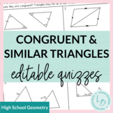 Congruent and Similar Triangle Quiz