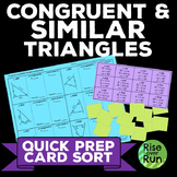 Congruent and Similar Triangles Card Sort Activity