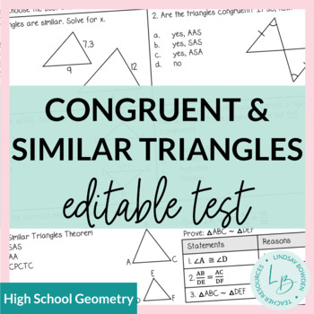Congruent and Similar Triangles Test with Study Guide   TpT