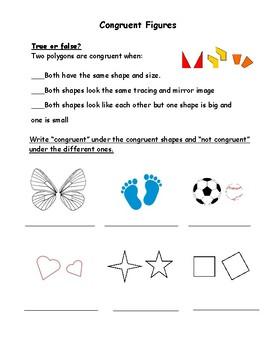 Congruent Figures Worksheet