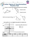 Congruent/Similar Figures and Transformations Practice Test