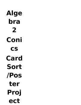 Conic Card Sort (and Optional Poster Project)