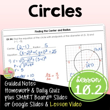 Circles (Algebra 2 - Unit 10) by Jean Adams | Teachers Pay ...