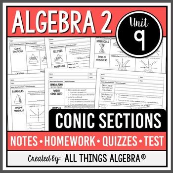Conic Sections: Circles, Ellipses, Hyperbolas, Parabolas (Algebra 2 - Unit 9)